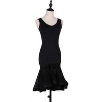 Stage Wear Black Dance Dress per le donne Zaino sexy con gluteo pizzo Ruffles Flamengo Rumba Salsa personalizzata VDB405