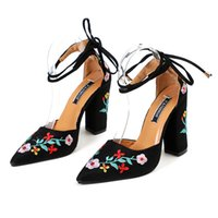 Women High Heels Plus Size Embroidery Pumps Flower Ankle Str...