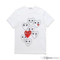 com 최고의 품질 블랙 CDG 새로운 남성 Womens des play 1 cdg 붉은 마음 짧은 소매 des 1 티셔츠
