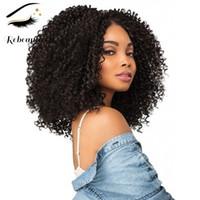 Rebeauty волос Бразильского Kinky завитые Non фронт шнурок парики для черных женщин синтетических париков волос высокой температуры волокна Длинных парики 20 дюймов