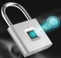 argent noir sans clé USB rechargeable de verrouillage de porte d'empreintes digitales intelligente Padlock rapide Déverrouiller en alliage de zinc métal auto développement Chip