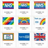 Danke NHS-Handmarkierungsfahne 14 * 21cm Regenbogen-Flagge UK-Fahne danken Ihnen Schlüssel Arbeiter Fahnen Banner für England Schottland Wales LJJA4063