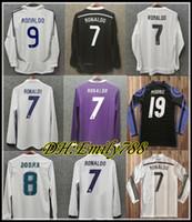 06 07 레알 마드리드 씨르프 Raul Zidane Mens 레트로 홈 멀리 축구 유니폼 2014-2018 Ronaldo Kaka 'Sergio Ramos Long Sleeve Football Shirt