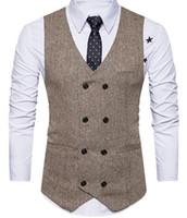 Kahverengi Erkek Yelek 2019 Yün Damat Yelek İngiliz Stil Erkek Takım Elbise Yelek Slim Fit Custom Made tasarımcı bağları Düğün Yelek mens