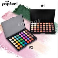 Directo de fábrica Popfeel 40 colores Maquillaje Sombra de ojos Mate Desnudo Brillo Pigmento Sombra de ojos Paleta 2 Colores diferentes Marca Cosméticos DHL libre