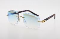 Vendendo Óculos sem aros Diamante Cut 3524012-B Mármore Prancha Roxo Óculos De Sol Moda de Alta Qualidade Óculos De Metal Masculino e Mulher Esculpida Lente