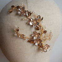 Gold Flower Wedding Barrette Handmade Crystal And Pearls Hai...