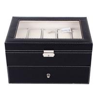 20 Pelle Griglie PU Holder Watch Box Caso Organizer Professional per Clock Orologi Gioielli di stoccaggio Scatole caso di esposizione