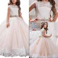 Cute Lovely Baal Gown Jewel Floor Length Tulle Lace Flower G...
