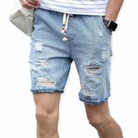 Nouveau mode de loisirs Hommes Ripped Jeans court Marque Vêtements d'été Coton Short Respirant Déchirure Denim Shorts Homme