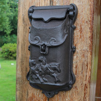 Cast Iron Mailbox Outdoor Post Mailbox Wall Mount Decorative...