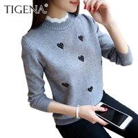Suéteres para mujer Tigena 2021 Otoño Invierno de punto Turtimenek Pullover y suéter Mujer Jersey Bordado Lindo Mujer Pull Fmme Amarillo