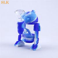 Fábrica de venta caliente tubo de silicona robot burbujeador mano tubos vidrio grueso bongs de agua tubos personalizados brillan en la oscuridad