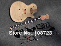 DIY의 일렉트릭 기타 키트 미완성 마호가니 바디와 골조 메이플 탑 지판 로즈 우드 하드웨어 크롬입니다
