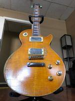 Gary Moore Tribute 1959 Yenilmez Butterscotch Relic Elektro Gitar Alev Akçaağaç Üst, Tek Parça Boyun (SCAF), ABR-1 Köprüsü, Tune O Matik Tailpiece, Krom Donanım