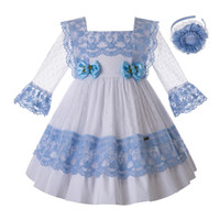 Pettigirl Blue Lace Flower Girl Dresses With Bow Carved Holl...