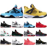 san francisco 77289 7aec6 4s zapatos de baloncesto para hombre Pale Citron Travis Cactus Jack Raptors  Lightning 4s Cemento Blanco
