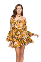 뜨거운 판매 섹시한 휴가 캐주얼 Daliy 드레스는 꽃 무늬 프린트 드레스를 끄기 보헤미안 짧은 드레스 슬래시 목 여름 미니 드레스