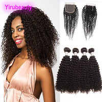 Indian 9A Human Hair Extensions 4 Bundles With Lace Closure ...