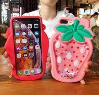 3D-Cartoon-weiche Silikon-Hüllen Glitter-Flüssigkeit schwimmende Ananas-Erdbeer-Telefon-Kasten für iphone 11 pro xr xs max x 8 7 6 Plus-Abdeckung