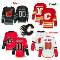 Sean Monahan Dritter Calgary Flames Johnny Gaudreau Neal Matthew Tkachuk Bennett Brouwer Backlund Retro Custom männchen Frauen Jugend Hockey Trikots