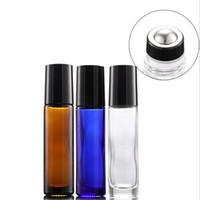 Le plus chaud 10 ml bleu clair verre ambre clair sur une bouteille de parfum vide d'huile essentielle avec la plus nouvelle boule à rouleaux en acier inoxydable livraison gratuite