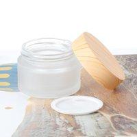 Esvaziar fosco frasco de vidro Pot com grão de madeira Lid Skin Care Creme Eye Mask Cosmetic Containers Refill Bottle 5 g 10g 15g 30g 50g em estoque