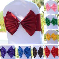 La banda de la silla elástica cubre los marcos para el banquete de bodas Prom con la hebilla del aro Spandex Bowknot corbata sillas Sash hebillas cubierta libre DHL WX9-556