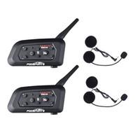 2 pcs V6 motocicleta Capacete Pro Auricular Bluetooth intercomunicação 6 Riders 1200M sem fio Intercomunicador BT Interphone
