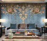 Custom wallpaper photo European retro blue classical luxury background mural home decoration living room bedroom 3d wallpaper
