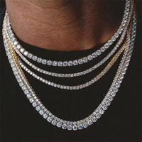 Mens Hiphop Gelado Correntes de Jóias Diamante Uma Fileira Corrente de Tênis Hip Hop Jóias Colar 3mm 4mm Prata Rosa Colares de Cadeia de Cristal