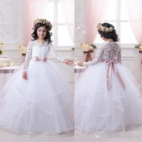 2019 Lace Flower Girl Dresses Princess Scoop Neck Flare Slee...