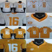 2019 대학 축구 유니폼 페이튼 매닝 (16) 뉴저지 NCAA 테네시 자원 봉사자 유니폼 흰색 노란색 150 패치
