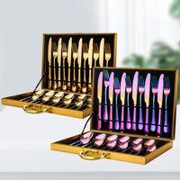 Ouro Faqueiro Steak Knife Fork colher de café colher de chá 24pcs / set aço inoxidável Início Louça, Faca, Garfo Colher Set Gift Box Louça