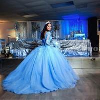 Небесно-голубое тюль мяч платья с длинным рукавом Quinceanera платья кружева аппликация бисером 2020 новых платьев выпускного вечера длинный поезд сладкий 15 платьев
