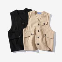 Birçok Cepler Yeni Moda Erkek Artı boyutu Pamuk Kargo Yelek ile Sonbahar İlkbahar Denim yelek erkekler Retro Sleevelesss Ceket