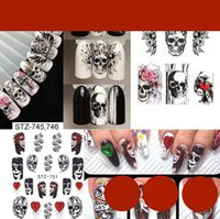 Tatyking Nail Art New Watermark Sticker Halloween in bianco e nero Colore Skull Element Full Paste Halloween Forniture Adesivi per nail art MJ0166