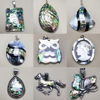 100% Натуральный Abalone подвеска Shell маятникового Ожерелья Подвески для женщин Сырье перламутр Seashell Рождество Ювелирная подарок
