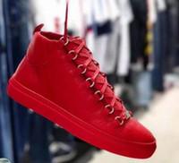 Yüksek Kaliteli Marka Arena Ayakkabı Yüksek Üst Sneaker Ayakkabı, erkek Düz Kırışıklık Deri Eğitmen Parti Lüks Ayakkabı Erkek Spor Koşucu KUTUSU