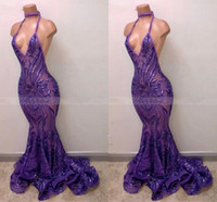 Sexy Purple Sequin Mermaid Black Girl Prom Dresses 2020 Backless Long African Graduation Dress Party Wear Formal Gala Evening Gowns