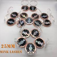 Pestañas postizas de 25 mm Tira gruesa al por mayor 25 mm Pestañas de visón 3D Etiqueta de embalaje personalizada Maquillaje Dramático Pestañas largas de visón