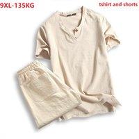 남성용 티셔츠 플러스 사이즈 5XL 7XL 8XL 9XL 티셔츠 남성 여름 티셔츠 짧은 소매 및 반바지 빈티지 일본 스타일 V 넥 코튼 셔틀 블랙 130K