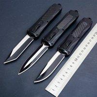 MTAUTOTF noir A163 3 modèles double action manche noir couteau pliant automatique chasse lame fixe auto-défense Couteaux de poche cadeau de Noël Adker