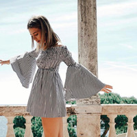 American European layer flare sleeve off the shoulder dress ...