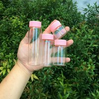 Glass Bottles Plastic Cap Pink Screw Transparent Glass Vials...