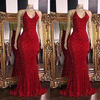 Блестящие красные блестки Sexy V образным вырезом спинки платья выпускного вечера 2019 Холтер Русалка длинные платья выпускного вечера низкая спина арабский вечернее платье BC1085