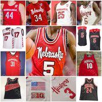 Personalizzato Nebraska CornHuskers Basket Jersey NCAA College Dachon Burke Jr. Cam Mack Haanif Cheatham Green Kevin Cross Kavas Thorbjarnarson