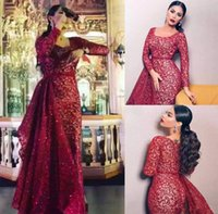 Burgundy Lace Sequins Mermaid Prom Formal Dresses with Detachable Train 2019 Plus Size Long Sleeve Full Back Arabic Occasion Evening Gown