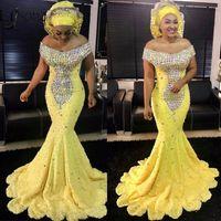 2020 Sarı Kapalı Omuz Kristal Boncuklu Afrika Denizkızı Gelinlik Modelleri Vintage Siyah Kız Artı boyutu Akşam Önlük Uzun Örgün Parti Elbise