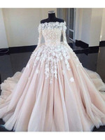 Luxury 3D Floral Flowers Blush Wedding Dresses Ball Gown Off...